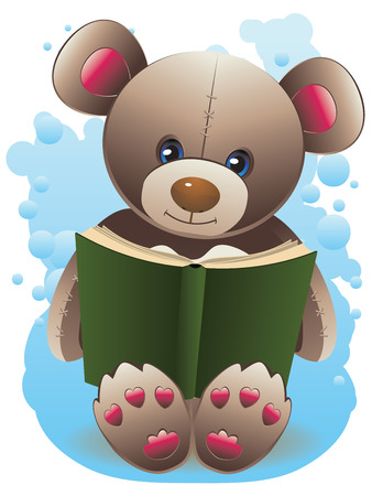 green book: Cute happy teddy bear with green book illustration.