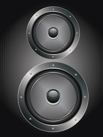 loud speaker: Illustration of sound loud speaker in metal frame rivets, bolts. Illustration