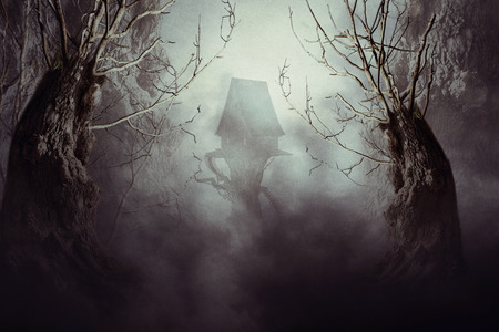 dark elf: Halloween night background with spooky forest trees and witch house in fog. Stock Photo
