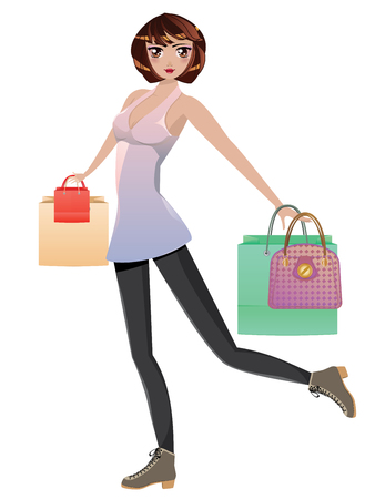 outfit: Fashion girl in casual outfit with shopping bags.
