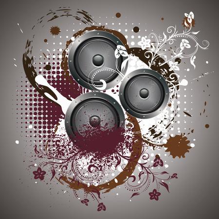 subwoofer: Musical sound loudspeaker grunge paint splatters and floral design.
