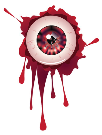 cornea: Spooky halloween eyeball with grunge blood splatter.