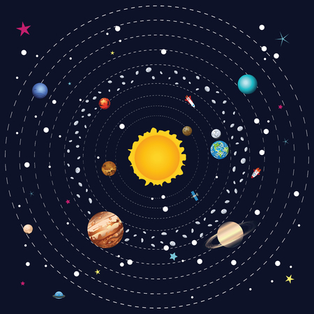 saturn rings: Cartoon illustration of solar system and planets around sun. Illustration