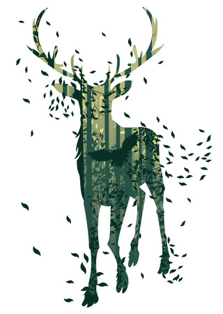 thickets: Deciduous forest landscape with silhouettes of trees and deer in green mist.