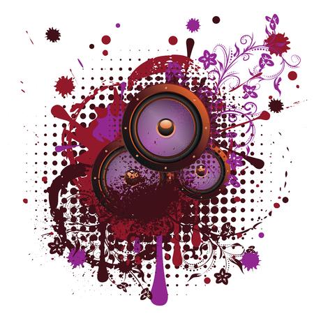 Musical sound loudspeaker grunge paint splatters and floral design.