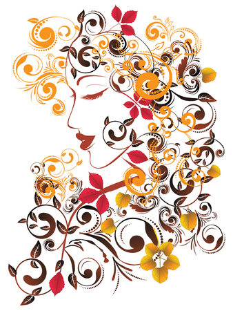 hairdos: Colorful fall leaves, floral ornament and female portrait.