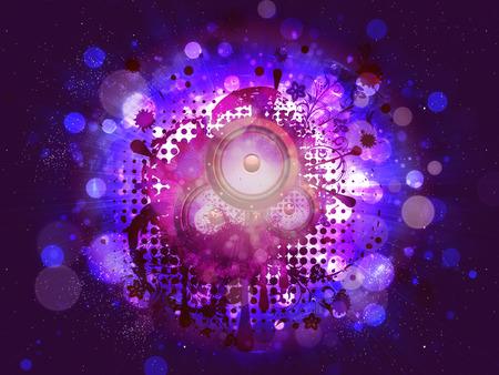 subwoofer: Musical sound loudspeaker grunge paint splatters with floral design. Stock Photo