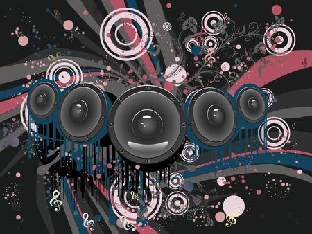 loud speaker: Decorative grunge poster with audio loud speaker, funky design.