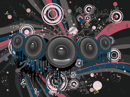 Decorative grunge poster with audio loud speaker, funky design.