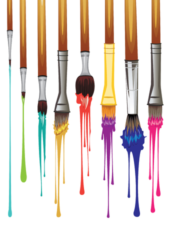 dripping paint: Art brushes with colorful dripping paint illustration.