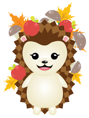 Cute cartoon hedgehog with maple autumn leaves and food.