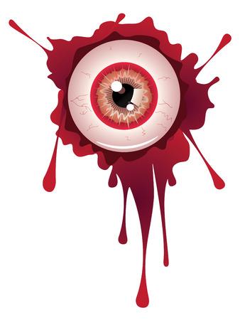 sclera: Spooky halloween eyeball with grunge blood splatter.
