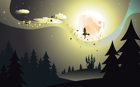 flying witch: Halloween background with flying witch silhouette on a broomstick in dark forest.