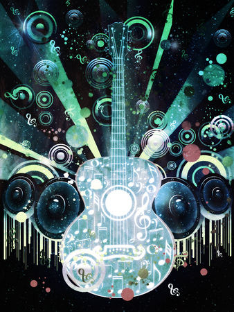 Decorative grunge funky music poster with guitar and sound speakers.