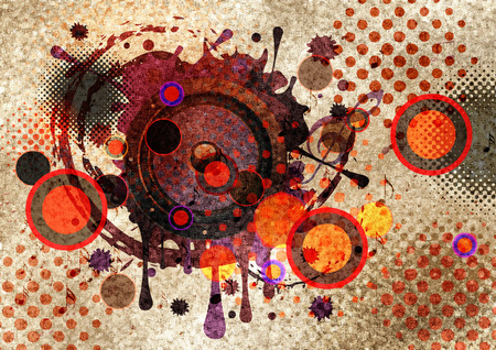 subwoofer: Musical sound loudspeaker grunge paint splatters and texture with floral design.