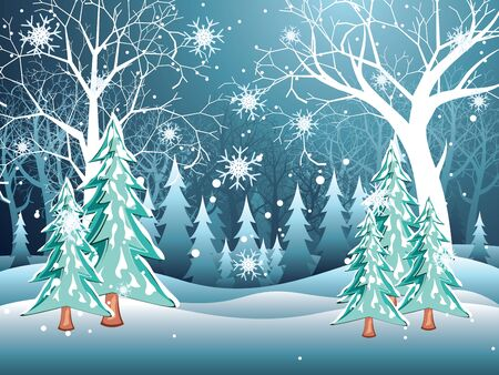 midwinter: Tree without leaves in snowy forest, winter landscape. Illustration