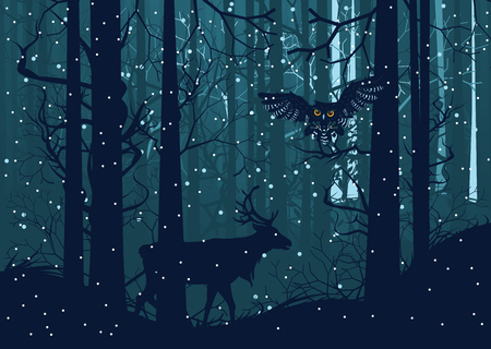 midwinter: Falling snow in dark winter forest with trees and deer silhouette.