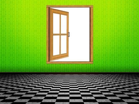 grunge room: Grunge room interior and wooden window illustration.