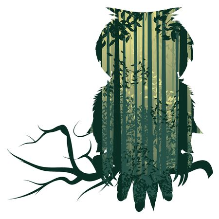 Deciduous forest landscape with silhouettes of trees and owl in green mist. Векторная Иллюстрация
