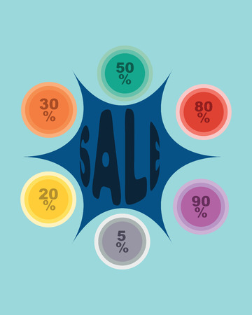 Colorful sale design background with percent discount.