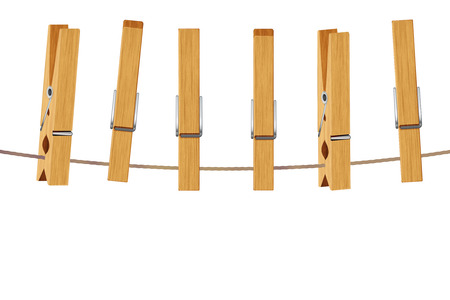 Vintage brown wooden clothespins, pegs illustration on white background. Stock Photo