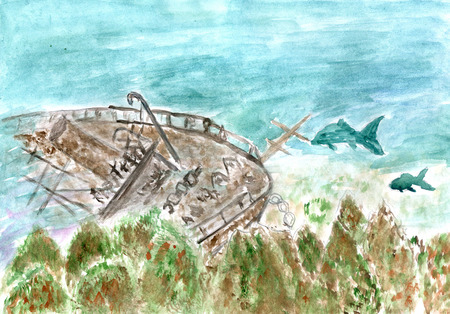underwater scene: Underwater scene with wreck boat and fishes, watercolor illustration. Stock Photo