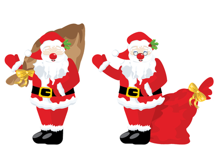 fluff: Cartoon Santa Claus with sack full of gifts. Illustration