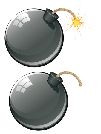 bombshell: Round black bomb about to explode with burning wick. Illustration