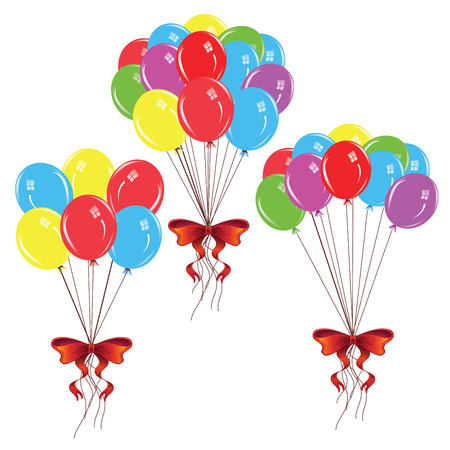 red balloons: Bunch of colorful balloons with red holiday bow. Illustration