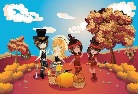 sharing food: Cartoon indians and pilgrims sharing food, Thanksgiving celebration. Illustration