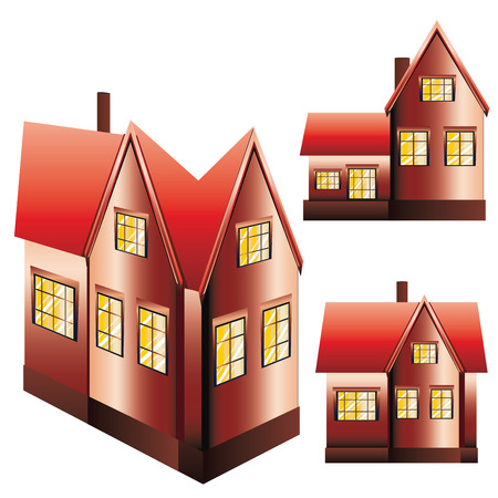 Set of three suburban family houses on white background.