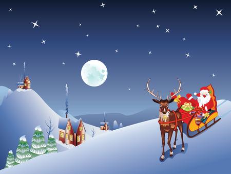 nosed: Cartoon Santa Claus riding his sleigh at the Christmas night.