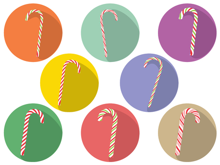 Collection of tasty striped candy canes, Christmas sweets. Vektorové ilustrace