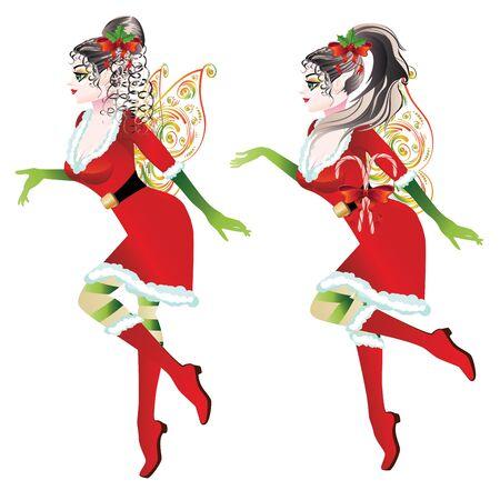 santa helper: Cartoon girl wearing Santa elf outfit with fairy wings.