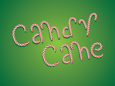 sweetstuff: Tasty words Candy Cane made of sweets. Illustration