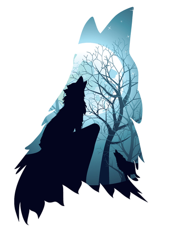 Silhouette of the wolf howling abstraction with night forest.