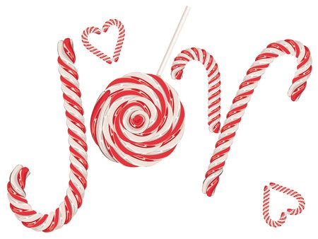 candy canes: The word joy made out of sweet candy canes.