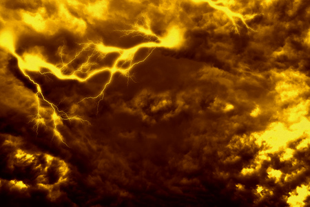 thunderhead: Dark stormy sky and bright lightning, thunderstorm background. Stock Photo