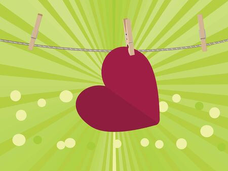 colorful heart: Colorful heart on a rope with wooden pegs. Illustration