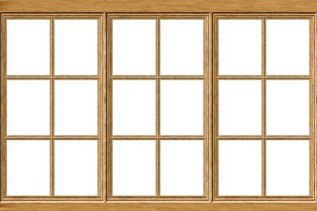 Alte Grunge-Holz-Fensterrahmen-Darstellung auf weißem Hintergrund. Standard-Bild - 70208377
