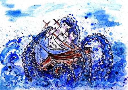 Giant octopus catches sail ship, grunge watercolor illustration. Stock Photo