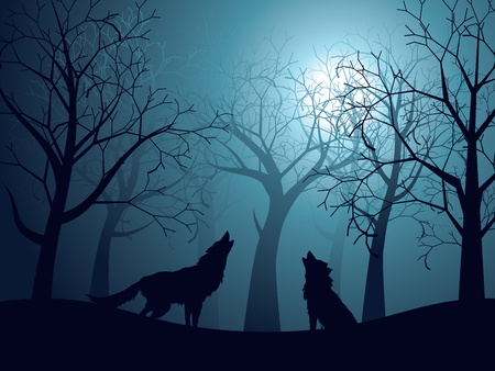Silhouet van de wolf die bij de maan in het bos bij nacht huilt.