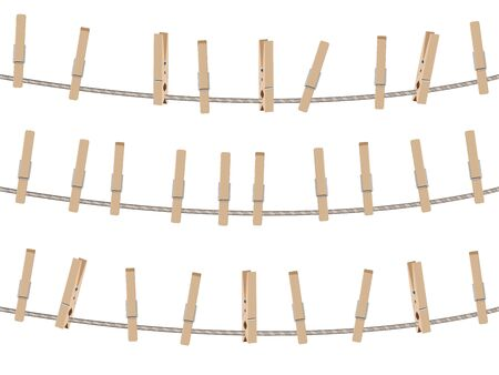 clothespeg: Collection of brown wooden clothespins, pegs illustration.