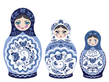 Decorative matryoshka doll with folk floral ornament of blue color.