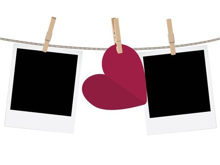 clothespeg: Retro photo frame and hearts on a rope with pegs.