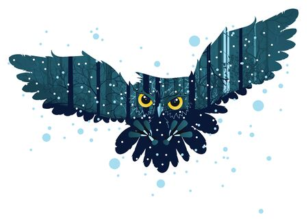 midwinter: Falling snow in dark winter forest with owl and trees silhouettes. Illustration