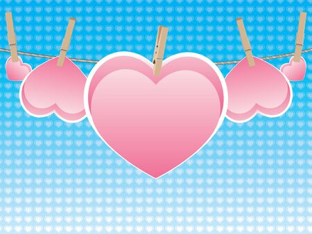 Colorful heart on a rope with wooden pegs. Illustration