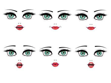 green eyes: Collection of cartoon female face with green eyes in different expressions illustration.