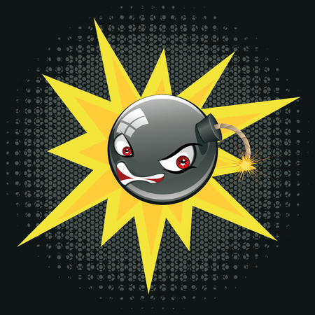 Black round bomb with an evil face about to explode. Illustration