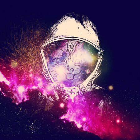 starfield: Grunge portrait of the cat with starfield texture, surreal illustration.